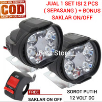SEPASANG Lampu Tembak Sorot 6 Mata LED Spion Motor 6 Watt 12Volt