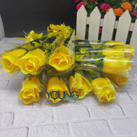 setangkai mawar/setangkai bunga mawar kuning/bunga plastik