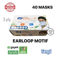 Masker Sensi Earloop Motif isi 40 pcs