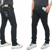 Celana Jeans Pria Model Skinny Saku Bobok - Hitam, S