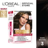 LOREAL Paris Hair Color Excellence Creme # 3 Dark Brown / Coklat Gelap