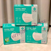 Total Med Daily Face Mask 3 Ply 100 pcs (Earloop Masker Hydrophobic)