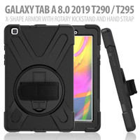 "Samsung Tab A 8"" T290 T295 Defender Military Hybrid Armor Case Strap"