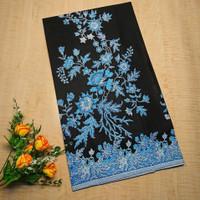Kain Batik Kebaya Sakura Biru Katun Primis Sogan Lawasan Seragam