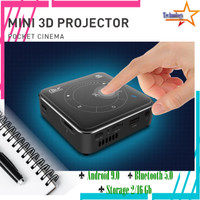 4K Mini Proyektor Portable 2/16Gb Android 9.0 Support 3D/WIFI/BT 5.0
