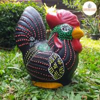 Celengan Ayam Jago Ornamen M - Souvenir Gerabah Unik