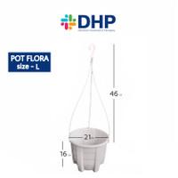 Pot Flora L (D=21cm ) / Pot Gantung Putih / Pot Plastik Gantung / Pot