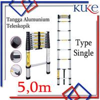Tangga Lipat Aluminium Teleskopik 5.0M Single Telescopic Ladder 5.0M