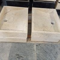 wastafel batu alam marmer kotak 40cm