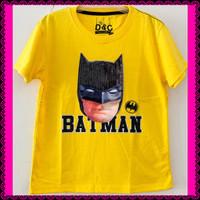 KAOS ANAK LAKI SIZE 1-6 BATMAN SUPERHERO KUNING LED MENYALA SEQUIN D&C