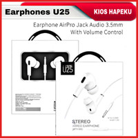 Headset Stereo Bass U25 Air Pro GEN 3 Universal Jack 3.5mm Earphone