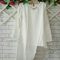 blouse putih XL/baju muslim/blouse tunik putih XL