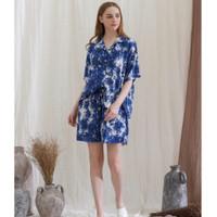 Sadie set in Blue Bold - Sleepwear / Piyama Baju Tidur Rayon by RAHA