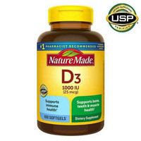 Vitamin D3 Nature Made 25mcg (1.000 IU ) 650 Softgels Multivitamin