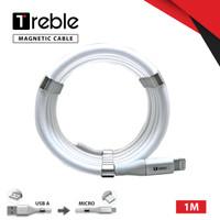 TREBLE Type A Magnet Kabel Charger Anti Kusut Type A 1 M - TKB3 - Micro USB, Putih