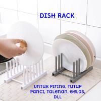 Rak Piring 6 Sekat Dish Rack Tutup Panci Tirisan Drain Rack Storage Li