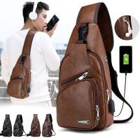 Tas Selempang / Bahu Pria Bahan Kulit PU dengan Charger USB untuk Olah