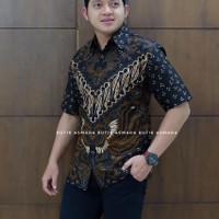 PARANG KUPU PENDEK kemeja full furing batik solo pria lengan pendek - PENDEK, M
