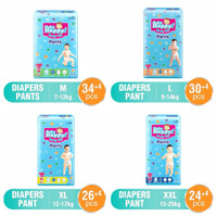 PAMPERS BABY HAPPY PANTS M34/L30/XL26/XXL24 +4 / BABY HAPPY +4 GROSIR