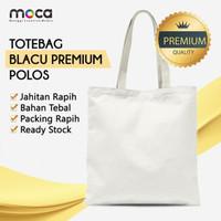 Totebag / Goodiebag Blacu Polos Pakai Resleting 30x40 - Grade Premium
