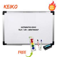 Whiteboard KEIKO papan tulis KEIKO ORIGINAL size 90x120cm banyak bonus