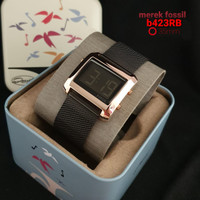 jam tangan wanita super premium fosil digital free box exclusive - black rosegold