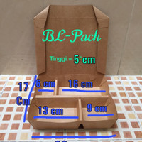 Lunch Box paper sekat 4 brown Kraft