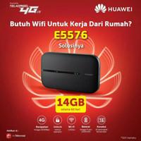 Huawei E5576 Mifi Unlock Telkomsel Free 14Gb Wifi Modem 4G LTE - Hitam