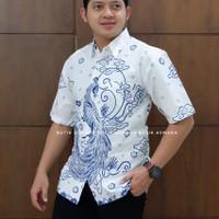 MERAK PUTIH PENDEK kemeja furing batik solo pria lengan pendek - PENDEK, M