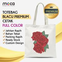 Totebag Blacu 30x40 Pakai Resleting + Cetak Custom - Grade Premium
