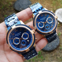 Jam Tangan Pria Wanita Bonia Couple Original Chain Blue Gold