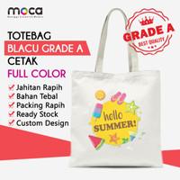 Totebag Blacu Cetak Custom Ukuran 30x40 Pakai Resleting - Grade A
