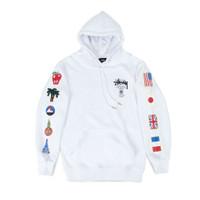 Stussy World Tour Flags Hoodie White - sweater pria