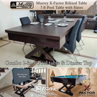 Murrey X-Factor 7ft Combo Pool Dinner Table Batu Slate Meja Billiard