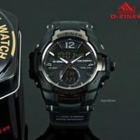 Jam Tangan Pria Original D-Ziner 8253 Double Time Waterproof Tali Rubb