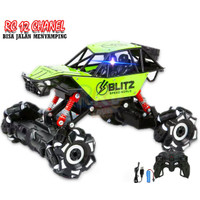 ( RC LATERAL DRIFT 12 CHANNEL ) RKJ Mainan Mobil RC Offroad 4WD, 2.4G - Hijau, SET BATRE REMOT