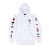 Stussy World Tour Flags Hoodie White
