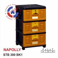 Lemari/laci plastik serbaguna 3 susun STB 300 BK1 NAPOLLY