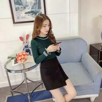 Baju rajut wanita lengan panjang Song Hye Kyo turtleneck kriwil Part 2 - Merah