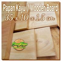 Kayu papan kayu 35x10x1,5m talenan kayu bahan craft dekorasi hiasan