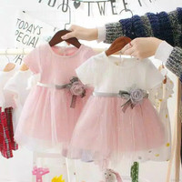 Dress bayi,baby princess Rose-import - 2-3 tahun, White