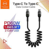mcdodo kabel coiled fast pd qc charger 3.0 c to c 60w macbook ipad pro