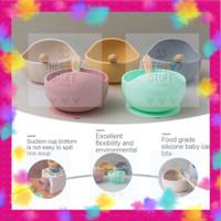 Set Makanan Bayi Silikon Anti Panas / Mangkuk Sendok Bayi Silikon