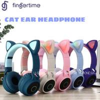 Headphone Kucing Bluetooth Lampu Cat Headphones LED Headset - Blue Grey