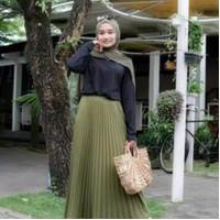 Rok plisket kerja panjang jumbo/ROK Rempel Wanita muslim grosi murah - Putih