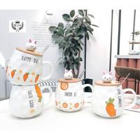 Cangkir Keramik Happy Day Gift Set Ceramic Mug 400 ml dengan sendok