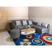 Sofa Minimalis Retro Kancing Puff + Stool Bulat + Meja Coffetable - Hitam