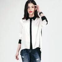 Kemeja Wanita / Duetto Offwhite Black Shirt 24340L8OH - Logo Jeans