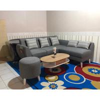 Sofa Retro Minimalis Kancing dgn Kantong +Stool Bulat+ Meja Coffetable - Hitam