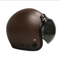 Helm retro HKM Line brown doff (free kaca helm)